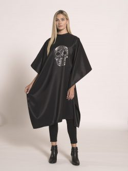 Betty Dain Sugar Skull Styling Cape - Black - Style 8002/SIL